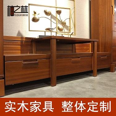 苏州实木家具 柚之林 新中式柚木实木家具 电视柜 视听柜 客厅家具厂家定制