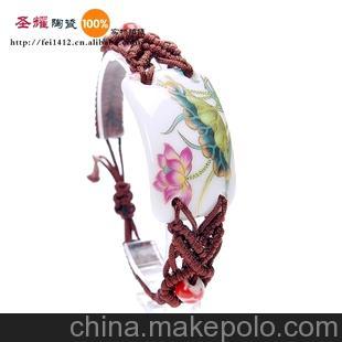 景德镇厂家直销手工原创民族风陶瓷饰品首饰 瓷片手链 金边荷花