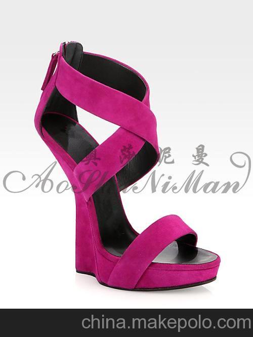 新品 13夏款凉鞋 欧美风格磨砂皮异型坡跟 拉链高跟鞋 1件代发