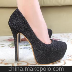 时尚甜美超高跟防水台细跟闪耀简约包头单鞋高跟鞋-1大量现货