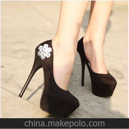 春季新款单鞋超高跟细跟防水台绒面女鞋水钻夜店性感高跟鞋 1-3
