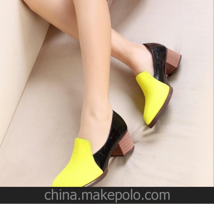 招微信网店代理呛口小辣椒ol尖头中跟粗跟女鞋羊单鞋女高跟鞋-1