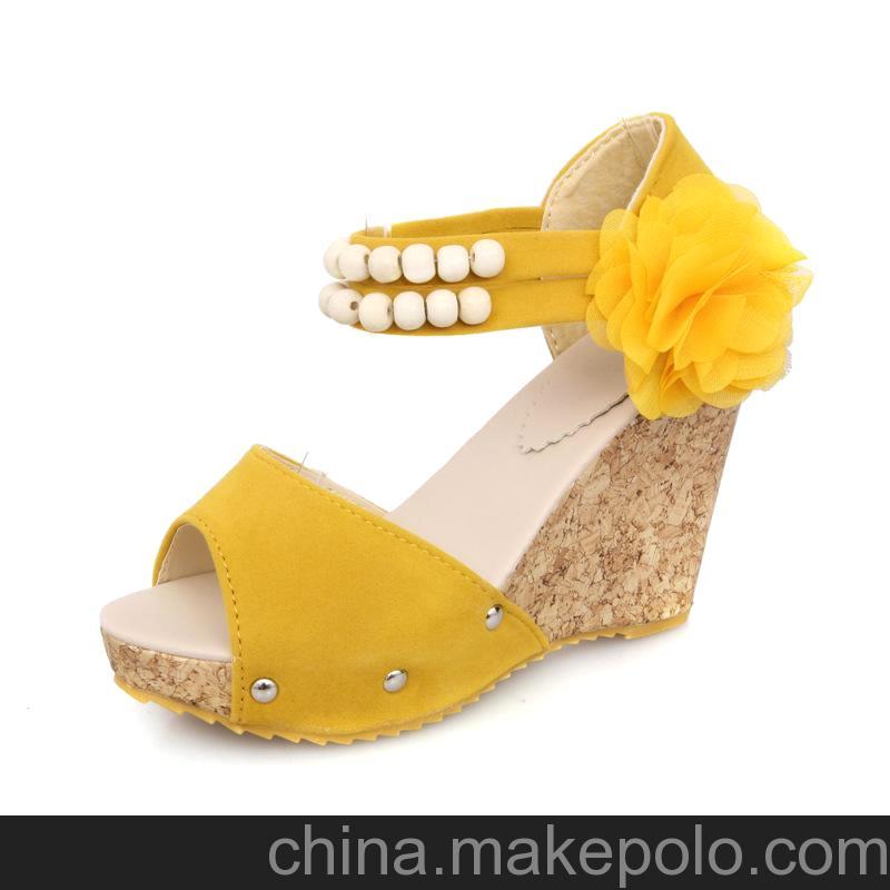 2013新款磨砂牛皮女鞋 夏季鱼嘴凉鞋 松糕高跟鞋 坡跟休闲鞋585-1