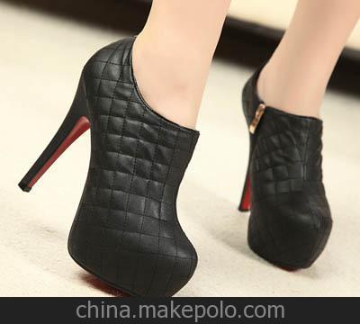 爆款性感格子装饰防水台细跟单鞋高跟鞋-1黑色白色 大量现货