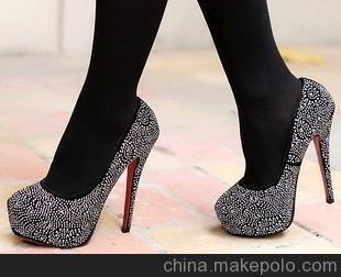 2013新款超美鞋型高跟鞋 1万2千颗亮点浅口细跟女鞋 防水台单鞋