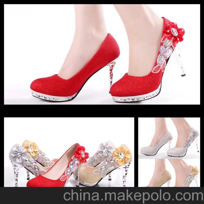 新款新娘婚鞋/婚纱礼服百搭高跟鞋/红色/金色银色水钻高跟鞋HX-1