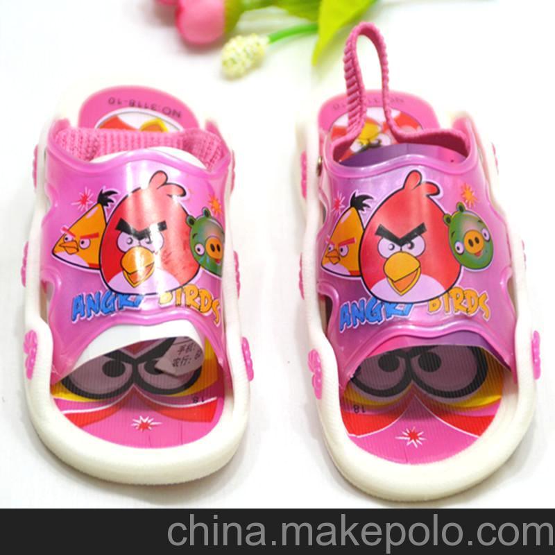 1-3岁夏季新款休闲卡通儿童凉拖鞋宝宝鞋学步鞋叫叫鞋愤怒的小鸟