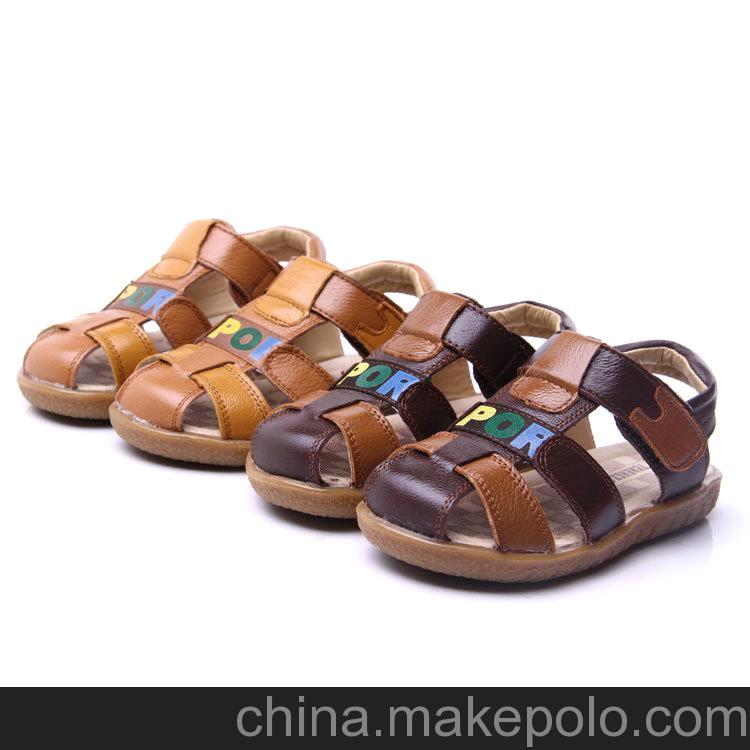 新款潮流可爱宝宝凉鞋批发 牛皮鞋面魔术贴耐磨鞋底 童鞋凉鞋