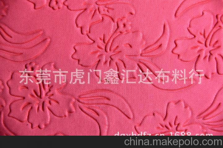 鑫汇达 厂销凹凸雕刻印花布 山水提花布 花草提花针织服装面料