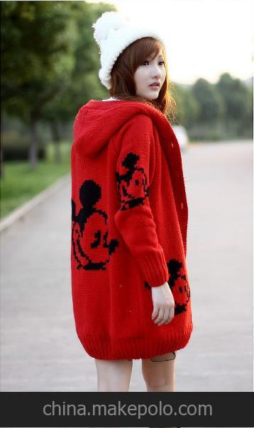 6608#2013孕妇装 冬装韩版可爱米奇连帽毛衣 加厚外套大衣孕妇装1