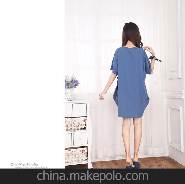 韩版胖人大码女装夏装新款卡通女孩印花宽松短袖T恤孕妇装1件代发