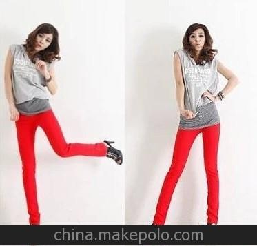 2014韩版时尚孕妇装1件代发 孕妇长裤子 糖果色铅笔裤 托腹小脚裤
