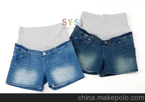 出口正品 孕妇牛仔短裤 托腹裤超弹力牛仔裤女孕妇装春款
