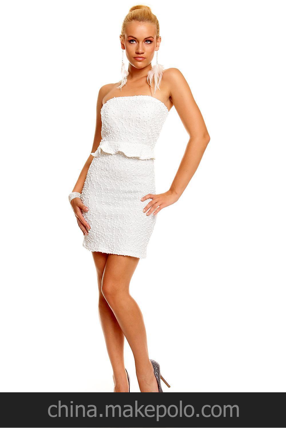 衣然饰你 雪花图案包臀OL性感抹胸洋装连衣裙2609-1