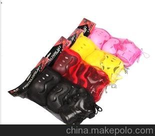 加厚儿童蝴蝶护具,轮滑护具,运动护具,护掌护肘护膝六件套