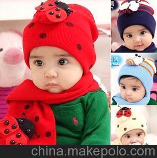 宝宝套帽甲壳虫套帽儿童帽批发秋冬婴儿瓢虫帽子围巾2件套