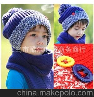 扣子男女儿童帽子+围巾2件套 针织毛线套头帽子冬款