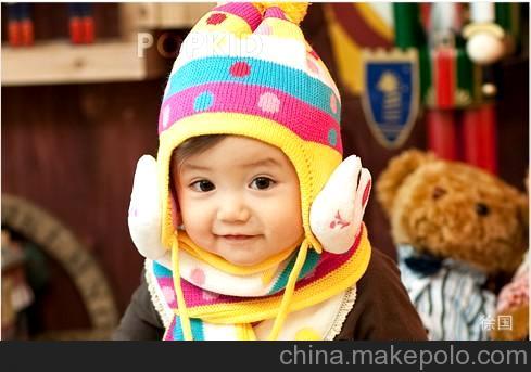 儿童帽子批发韩版宝宝帽子+围巾2件套热卖款彩条圆点公仔小兔6色