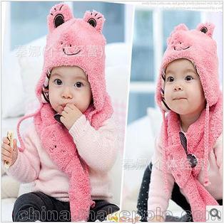 冬季儿童新款帽子围巾 毛绒笑脸青蛙儿童套帽 帽子+围巾2件套