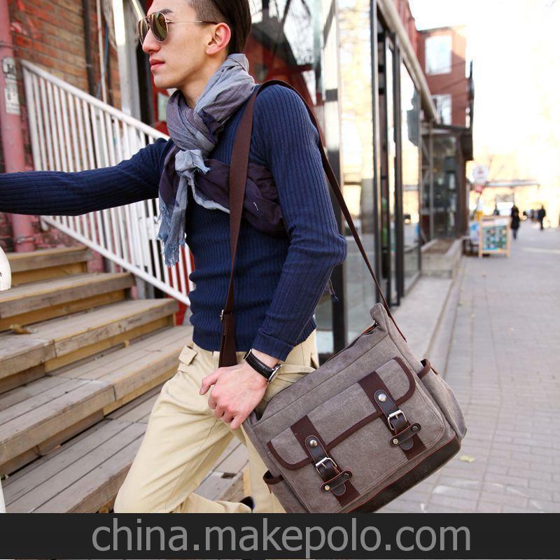 语莱皮具 1244# 新款帆布包 单肩斜挎包 学生包 旅行包 韩版大包