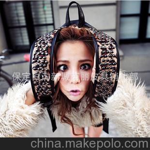 2013新款欧美潮包豹纹铆钉双肩背包韩版复古英伦风学生包RL139