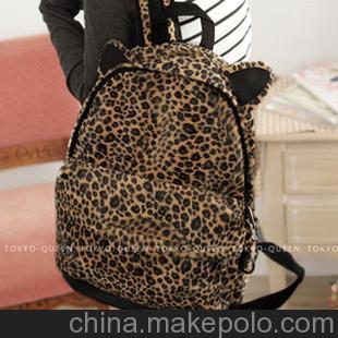 2013新款街头欧美时尚猫耳朵豹纹毛绒双肩包学生包女包背包