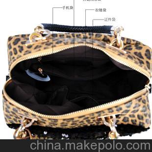 欧美豹纹亮片单肩包2013新款pu手提斜跨包时尚包包女包爆款批发