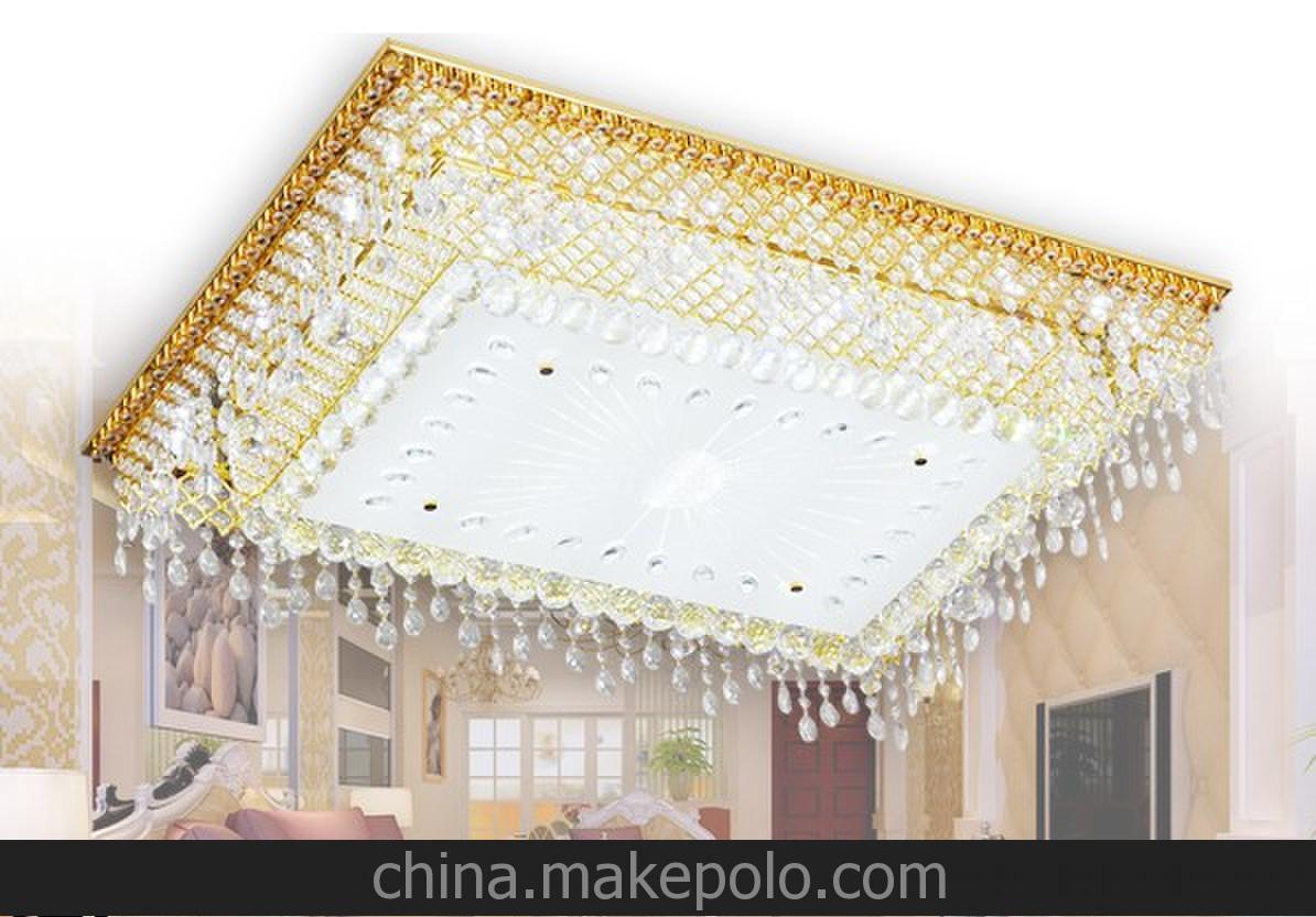 热销技术专利 长方形水晶灯 无极调光 吸顶灯LED灯 遥控客厅灯饰