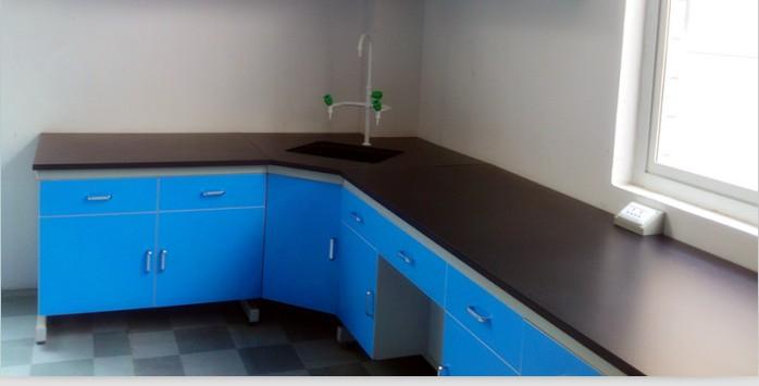 钢木实验边台角柜