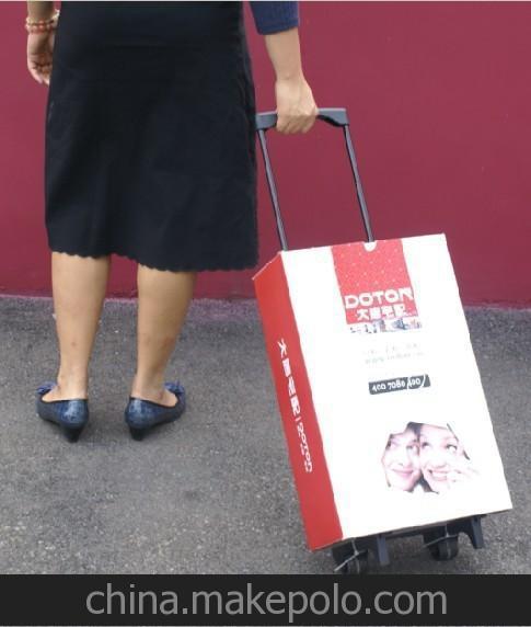 创意礼品收缩拉杆行李车 展会广告手拉纸箱6-1