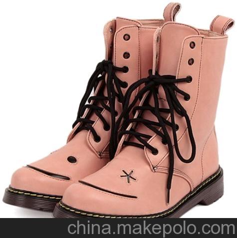 新款日系甜美笑脸短靴 糖果色 系带牛筋底女马丁靴机械靴xyr568-1