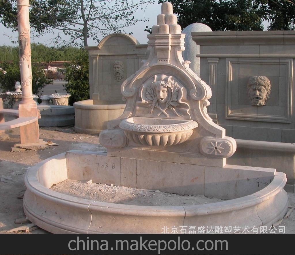 石雕碧泉 定做石材家具欧式动物流水碧泉雕塑摆件 大小加工定做