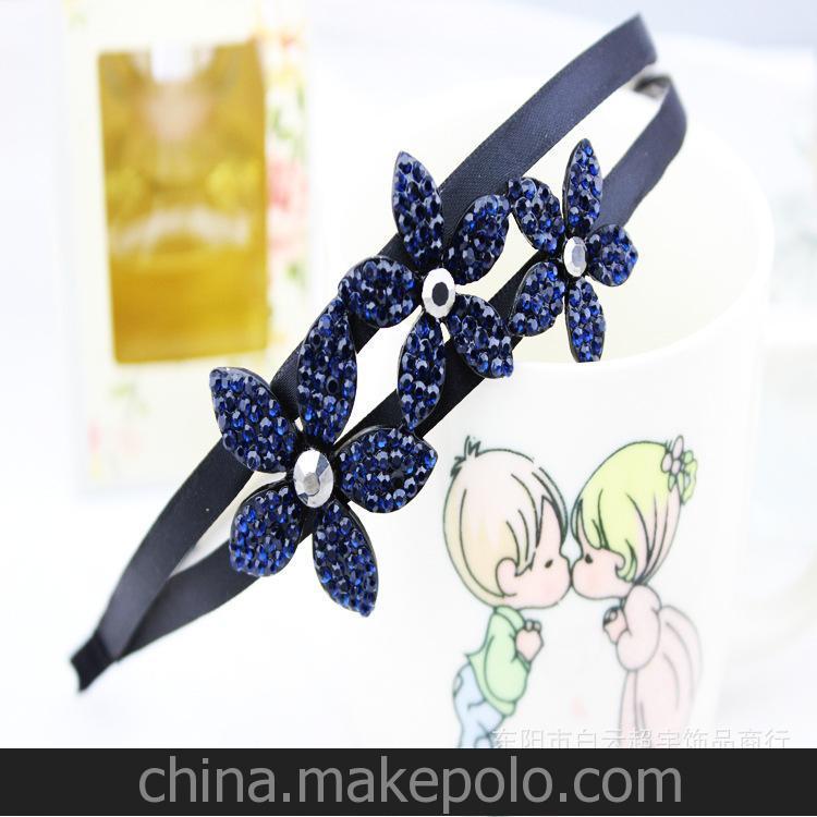 韩国头饰 厂家直销韩版气质双C蓝色水钻花朵双层发箍 颜色可自定