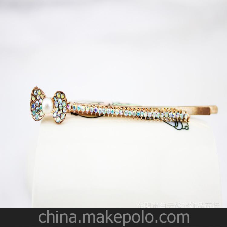 厂家直销 高品质单排水钻蝴蝶结珍珠一字夹 头饰批发 保色环保