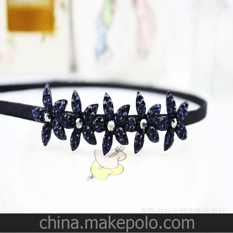 韩国头饰 厂家直销韩版OL气质蓝色水钻单排小花朵发箍 颜色可自定