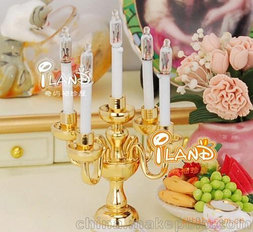 益智玩具1:12娃屋DOLLHOUSE MINIATURE迷你家具配 金色五枝烛台灯