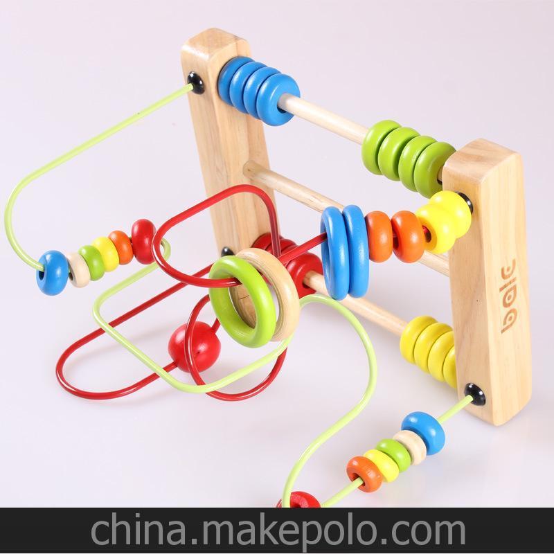 木制玩具 糖果绕珠 大号木制串珠绕珠儿童玩具 宝宝益智玩具1-3岁
